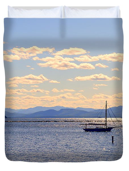 Boats On Lake Champlain Vermont Duvet Cover