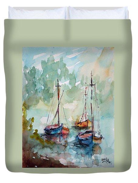 Boats On Lake  Duvet Cover by Faruk Koksal