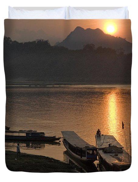 Boats On River By Luang Prabang Laos  Duvet Cover