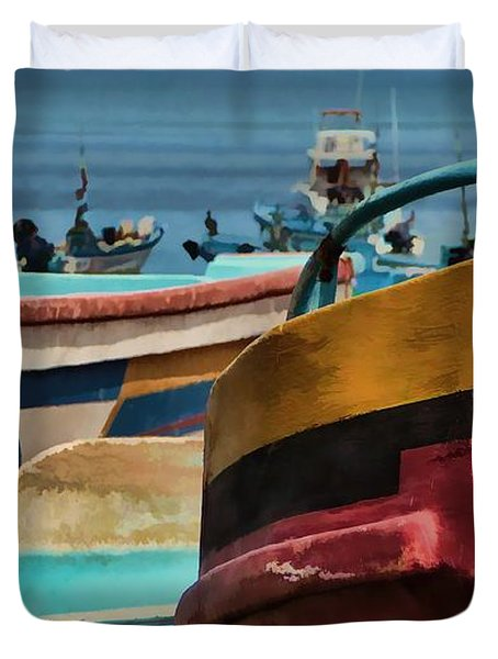 Boats On The Beach - Puerto Lopez - Ecuador Duvet Cover