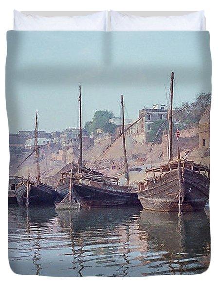 Boats On The Ganges River Duvet Cover