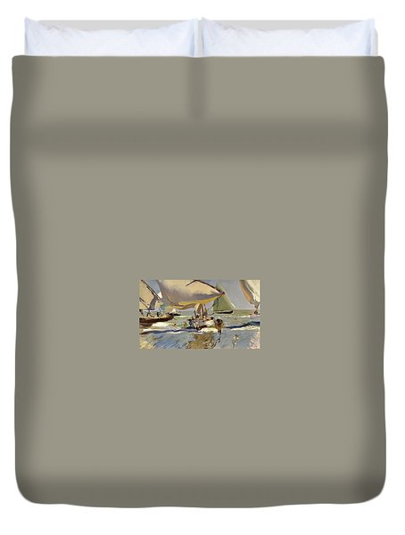 Boats On The Shore Duvet Cover