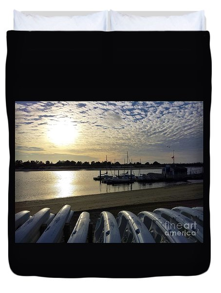 Duvet Cover featuring the photograph Boats Ready by Jasna Gopic