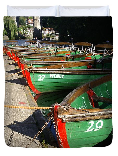 Duvet Cover featuring the photograph Boats Waiting For Kids by Doc Braham