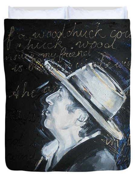 Bob Dylan - Blowing In The Wind Duvet Cover by Lucia Hoogervorst