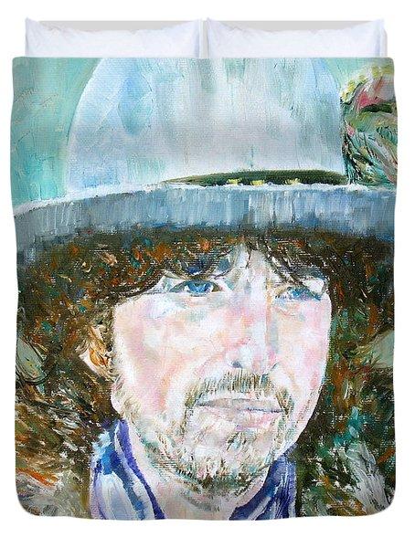 Bob Dylan Oil Portrait Duvet Cover