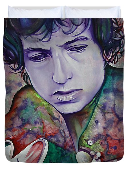 Bob Dylan-pink And Green Duvet Cover by Joshua Morton