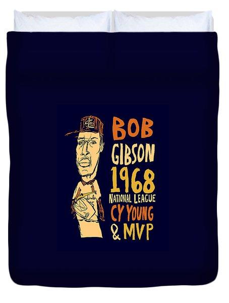 Bob Gibson St Louis Cardinals Duvet Cover by Jay Perkins