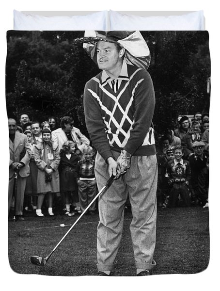 Bob Hope At Bing Crosby National Pro-am Golf Championship  Pebble Beach Circa 1955 Duvet Cover