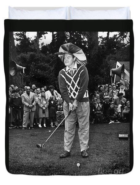 Bob Hope At Bing Crosby National Pro-am Golf Championship  Pebble Beach Circa 1955 Duvet Cover by California Views Mr Pat Hathaway Archives