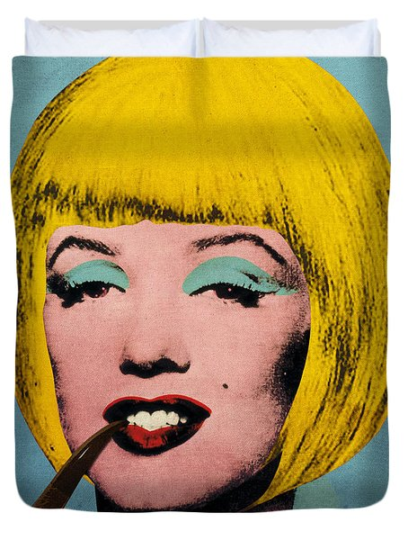 Bob Marilyn  With Surreal Pipe Duvet Cover by Filippo B