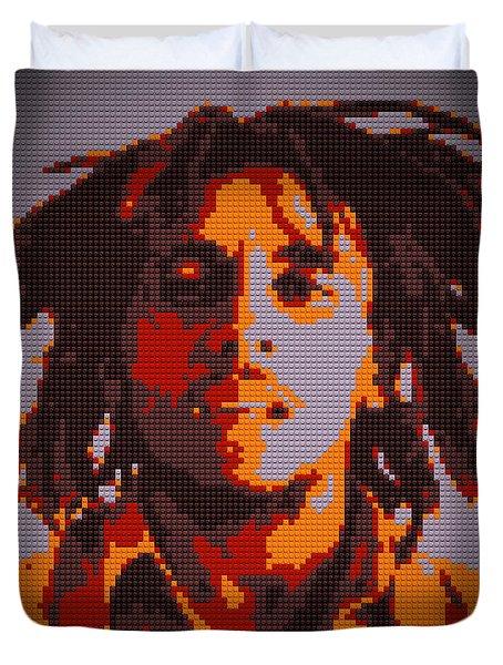Bob Marley Lego Pop Art Digital Painting Duvet Cover by Georgeta Blanaru