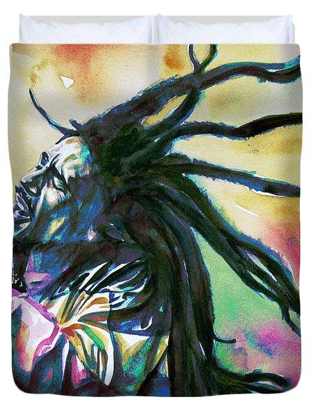 Bob Marley Singing Portrait.1 Duvet Cover by Fabrizio Cassetta