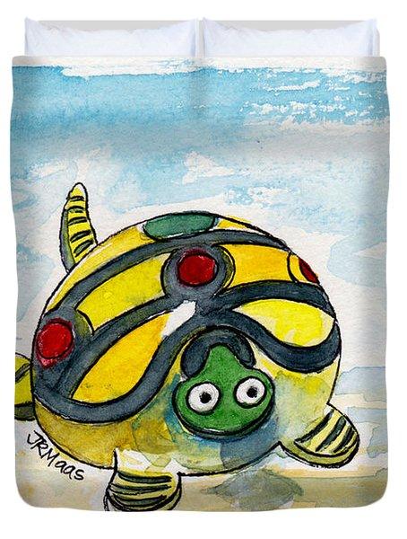 Bobblehead Turtle Duvet Cover by Julie Maas