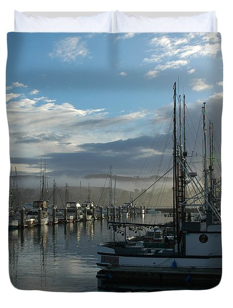 Duvet Cover featuring the drawing Bodega Fishing Boats by Dianne Levy