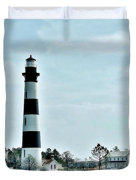 Bodie Island Lighthouse - Outer Banks North Carolina Duvet Cover by Kim Bemis