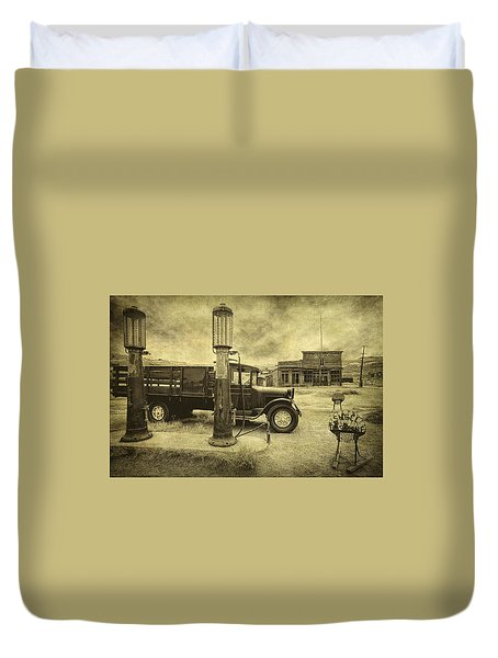 Duvet Cover featuring the photograph Bodie Memories by Priscilla Burgers