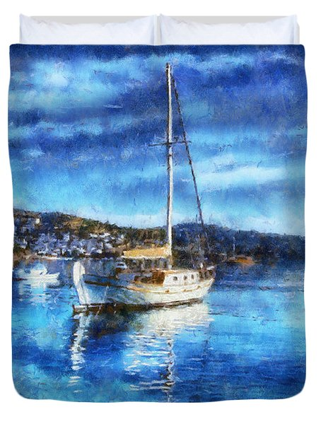 Bodrum Bay In Turkey Duvet Cover by Lilia D