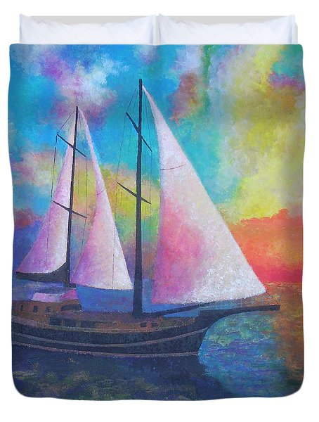 Duvet Cover featuring the painting Bodrum Gulet Cruise by Tracey Harrington-Simpson