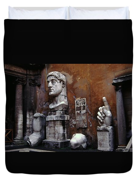 Duvet Cover featuring the photograph Body Parts The Colossus Of Constantine Rome by Tom Wurl