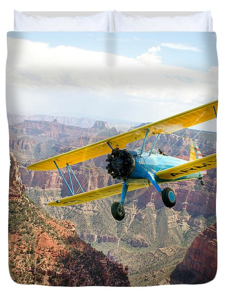 Boeing Stearman At Mount Hayden Grand Canyon Duvet Cover by Gary Eason