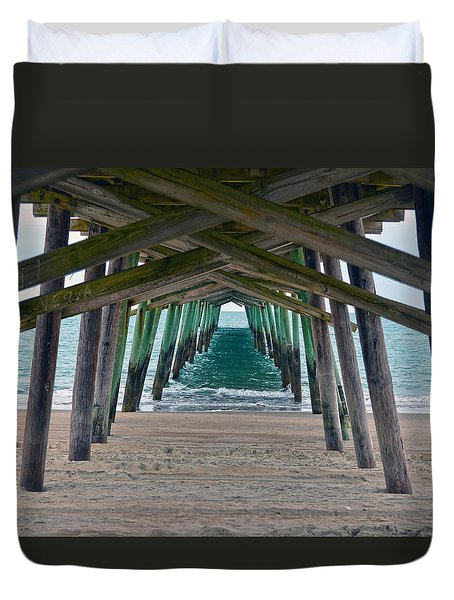 Bogue Banks Fishing Pier Duvet Cover by Sandi OReilly