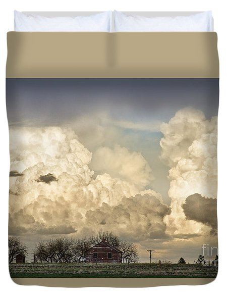Boiling Thunderstorm Clouds And The Little House On The Prairie Duvet Cover by James BO  Insogna