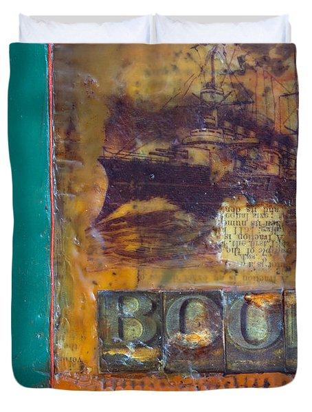Book Cover Encaustic Duvet Cover by Bellesouth Studio