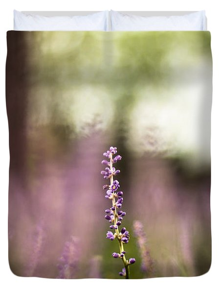 Bokeh With Purple Wildflower Duvet Cover