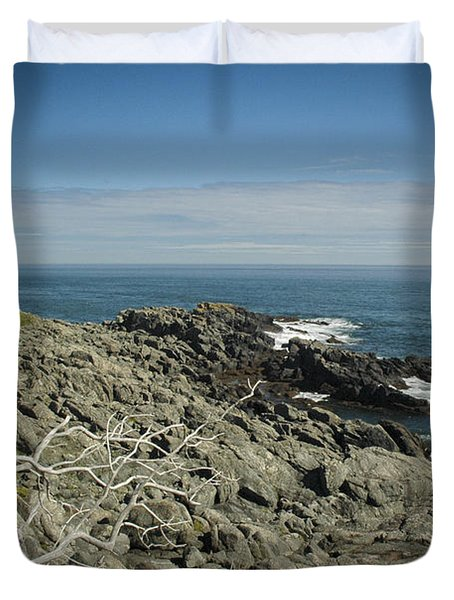 Duvet Cover featuring the photograph Bold Coast Rocks by Alana Ranney