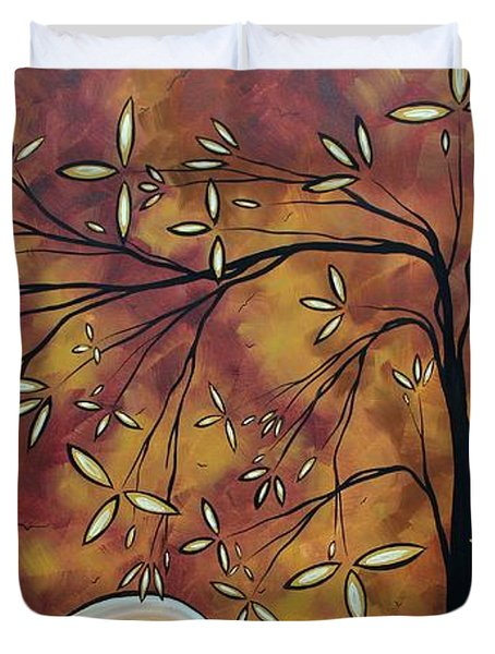 Bold Neutral Tones Abstract Landscape Art Oversized Original Painting The Wishing Tree By Madart Duvet Cover by Megan Duncanson
