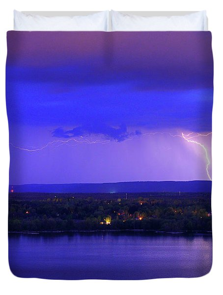Bolt Over Gatineau Hills  Duvet Cover
