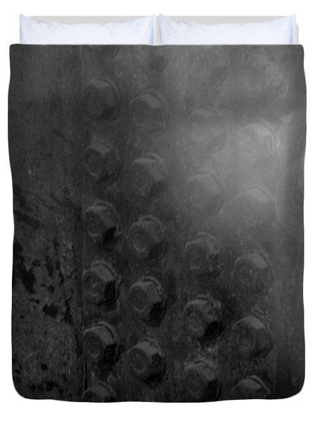 Bolts On The Trident In Black And White Duvet Cover by Rob Hans