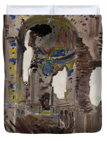 Bombed Out Interior Of Albert Church Duvet Cover by Ernest Proctor