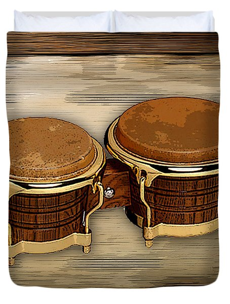 Duvet Cover featuring the mixed media Bongos by Marvin Blaine
