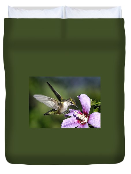 Duvet Cover featuring the photograph Wings Of A Hummingbird by Nava Thompson