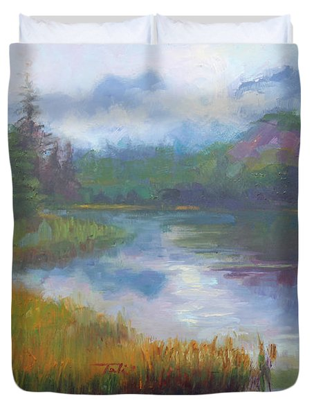Bonnie Lake - Alaska Misty Landscape Duvet Cover