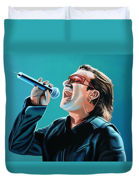 Bono Of U2 Painting Duvet Cover by Paul Meijering