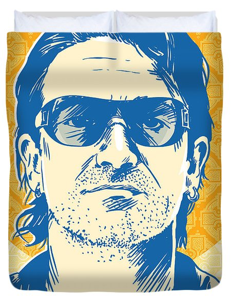 Bono Pop Art Duvet Cover by Jim Zahniser