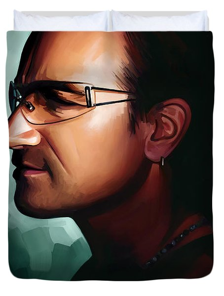 Bono U2 Artwork 1 Duvet Cover by Sheraz A