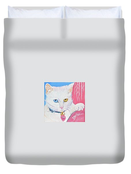 Duvet Cover featuring the painting Boo Kitty by Phyllis Kaltenbach