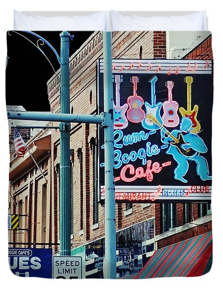 Boogie On Beale St Memphis Tn Duvet Cover by Lizi Beard-Ward
