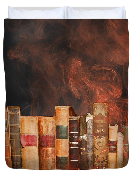 Book Burning Inspired By Fahrenheit 451 Duvet Cover