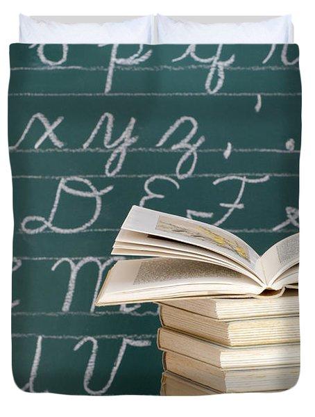 Books And Chalkboard Duvet Cover