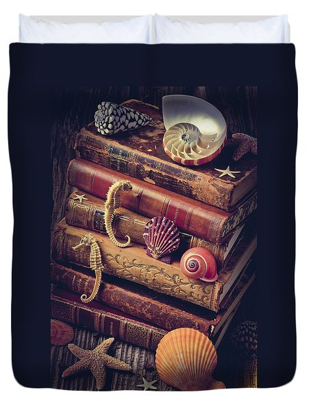 Books And Sea Shells Duvet Cover by Garry Gay