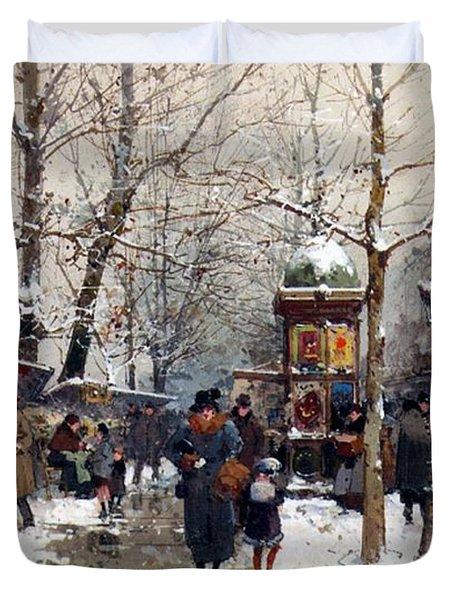 Bookstalls In Winter Paris Duvet Cover
