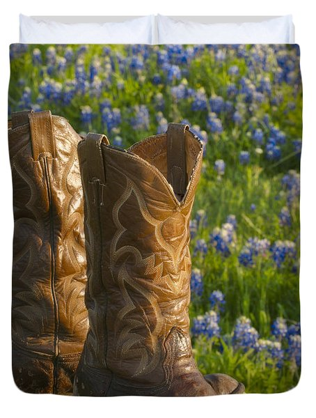 Boots And Bluebonnets Duvet Cover
