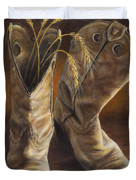 Boots And Wheat Duvet Cover