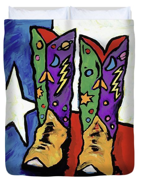 Boots On A Texas Flag Duvet Cover