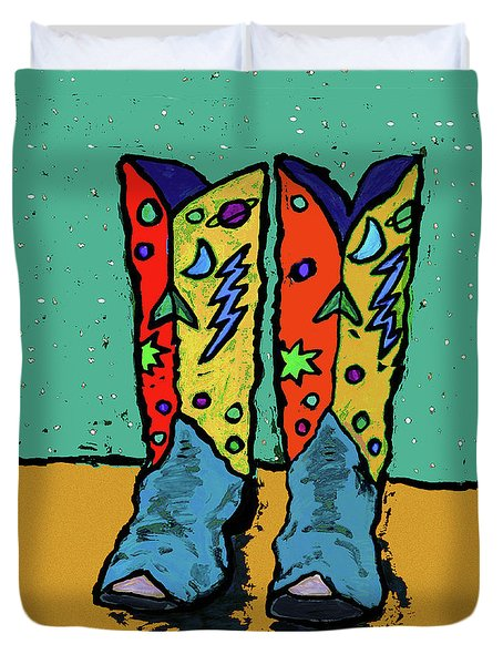 Boots On Teal Duvet Cover